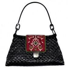 Pikowana torebka z haftowaną klapą GODDESS GOSHICO F32-02319-BL